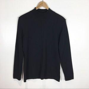 Louis Feraud Wool Sweater Turtleneck Mock Black